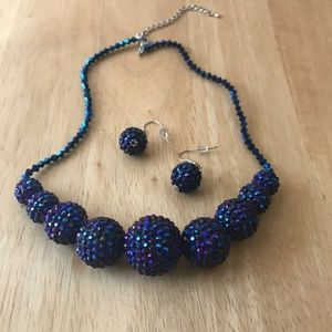 Jewelry - Midnight Blue Necklace Earrings Set Crystals New